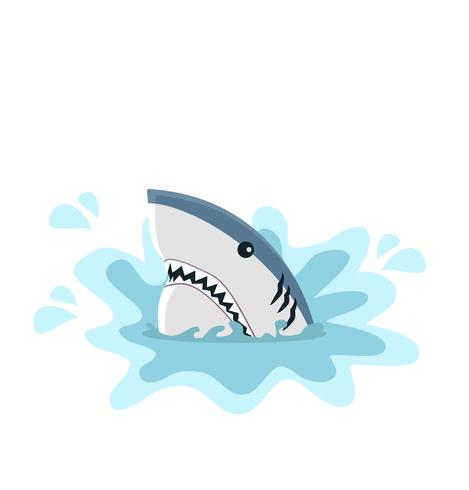 White shark with  open jaws vector