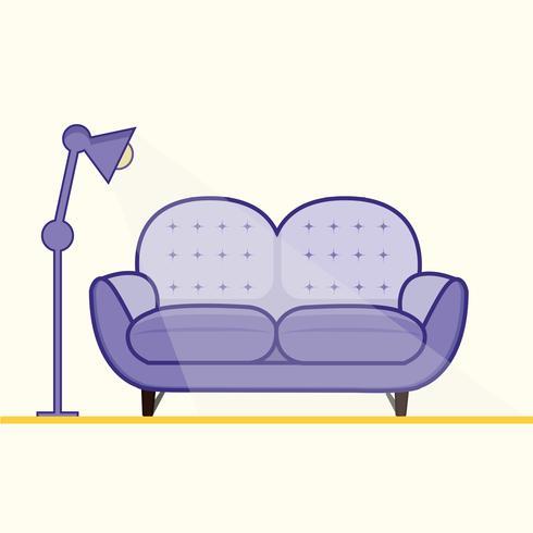 Sofá moderno de color púrpura para sala de estar.