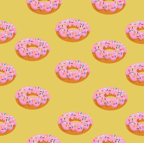 donut with pink glaze pattern vector