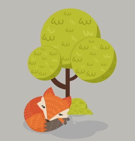 Lindo zorro rojo durmiendo bajo un árbol vector