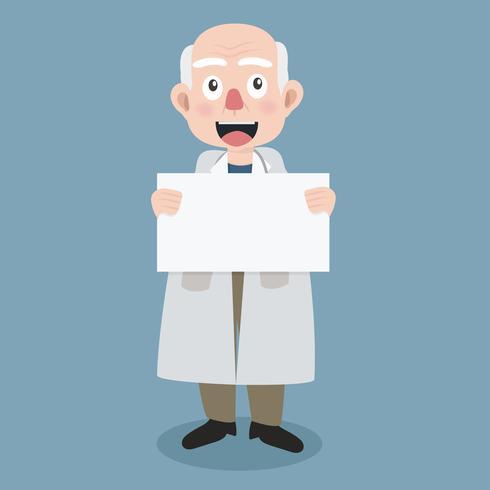 médico velho com segurando um cartaz em branco