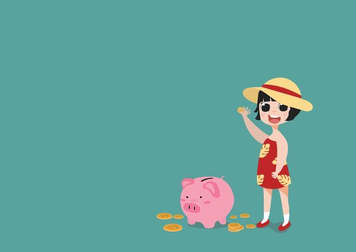 bambina che mette moneta un concetto di risparmio dei soldi del porcellino salvadanaio