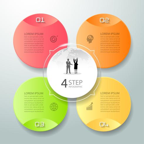 Le opzioni astratte di infographic 4 3d, il modello infographic di concetto di affari possono essere utilizzate per il layout di flusso di lavoro, il diagramma, le opzioni di numero,