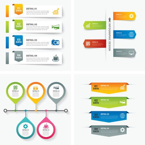 Ensemble de conception plate de modèles d'infographie