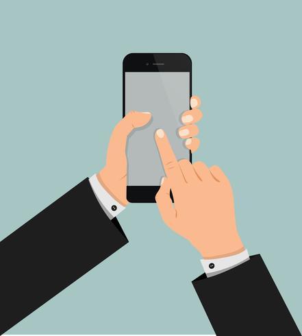 mano tocando la pantalla del teléfono inteligente vector
