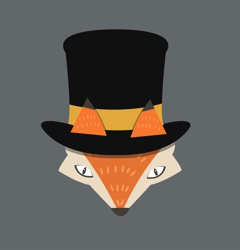 fox head with hat