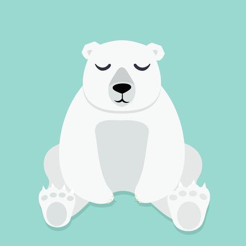 Urso polar solitário sentado vector