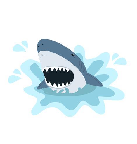 Requin blanc à gueule ouverte
