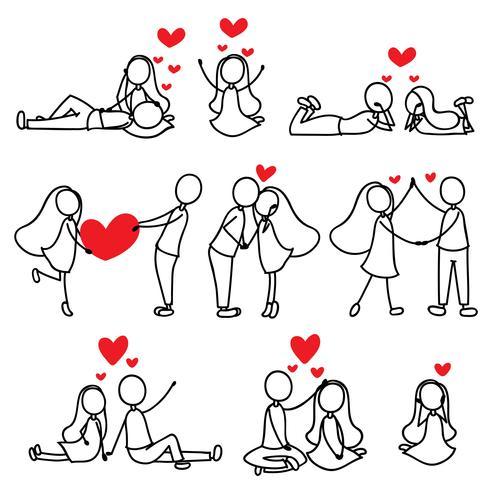 cartoon hand lijntekening liefde karakter paar