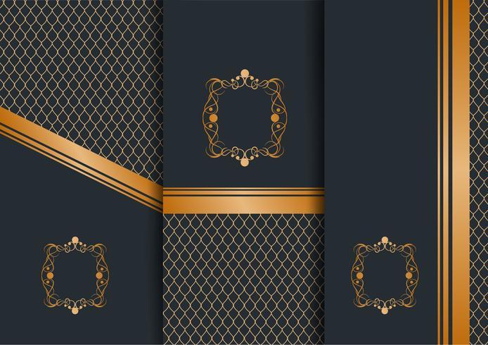 Modèle de fond doré décor art floral géométrique abstrait pour carte de menu, conception de l'invitation