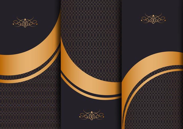Abstract geometric floral art decor golden background template for menu card, invitation design