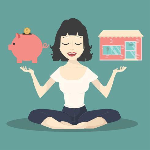 Meditierendes Konzept mit Sparschwein und Shop vektor