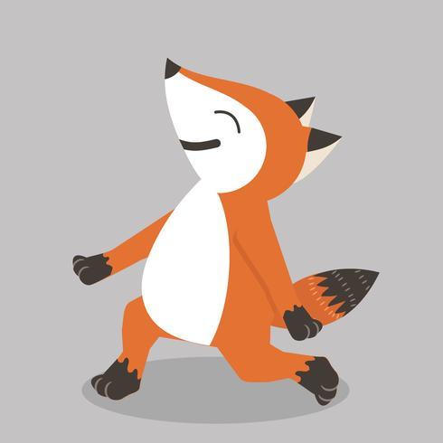 Illustration de dessin animé heureux renard roux