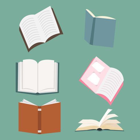 conjunto de vectores de libros abiertos