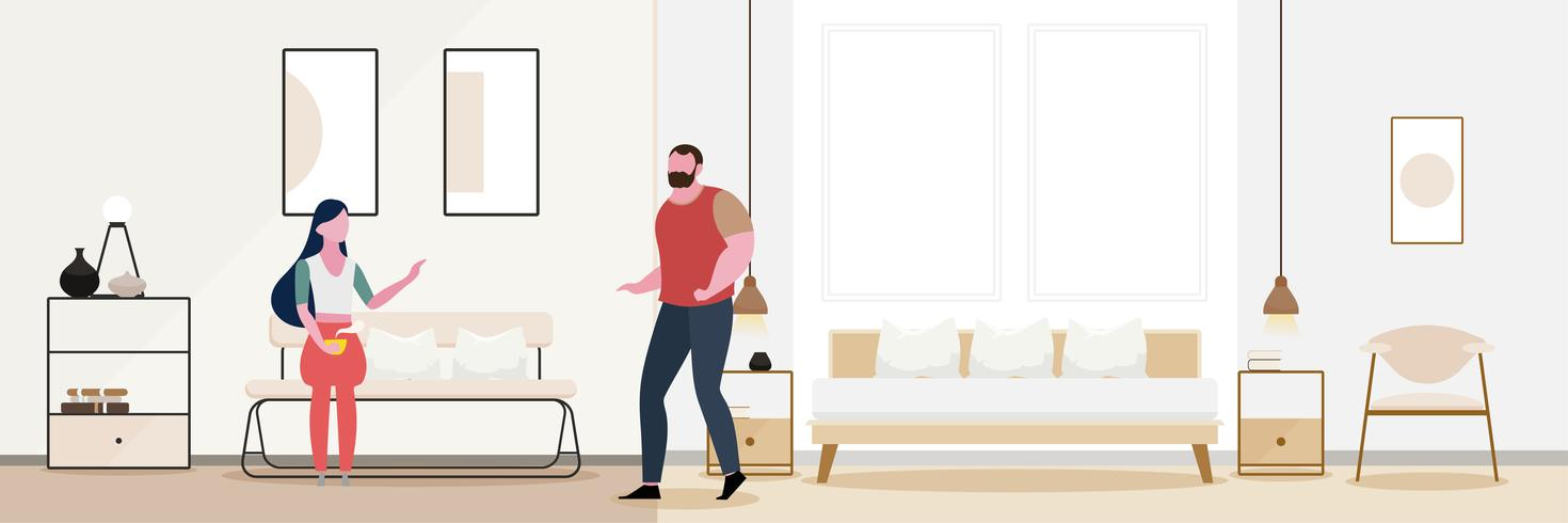 Couple romance Modern interior of the living room.  vector