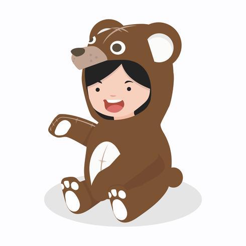 personnages de fille en costume d'ours