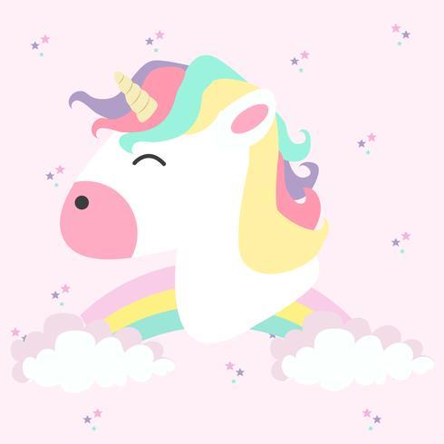 Testa di unicorno con arcobaleni in colori pastello