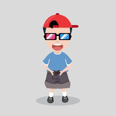 garoto joga videogame de console
