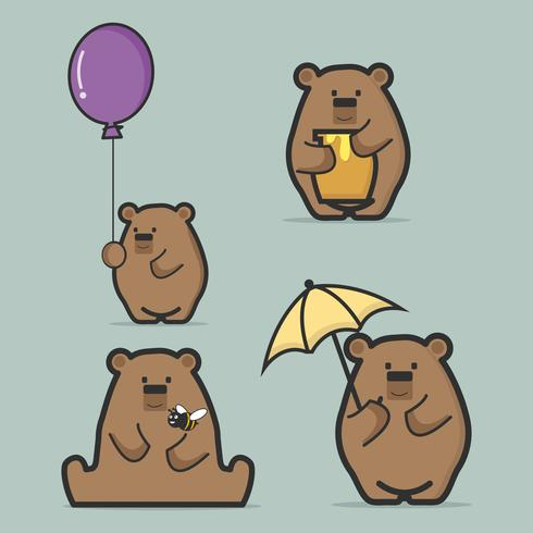 Set of cute  brown bear  flat style vector