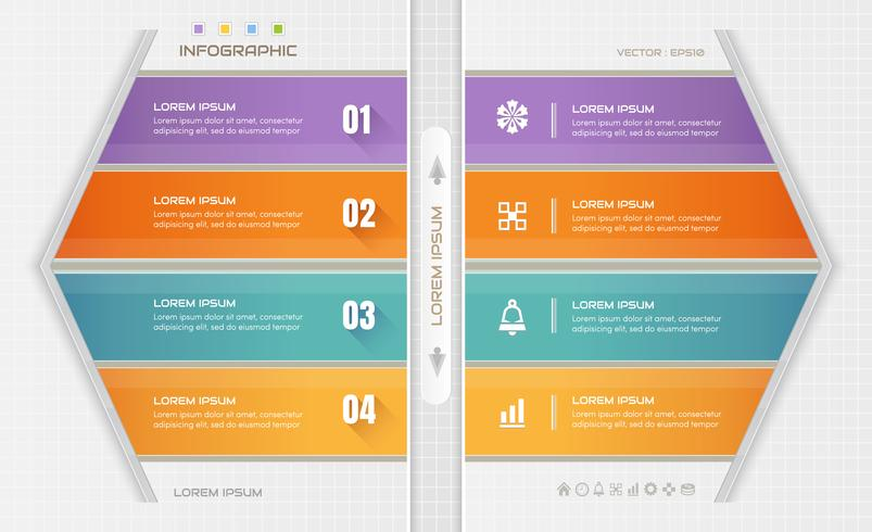 Infografik designmall med affärssymboler, processdiagram, vektor eps10 illustration