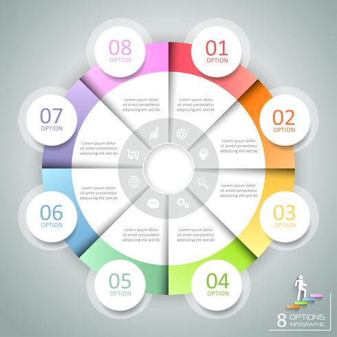 Ontwerp cirkel infographic 8 opties, Business concept infographic sjabloon kan worden gebruikt voor workflow layout, diagram, aantal opties, tijdlijn of mijlpalen project.