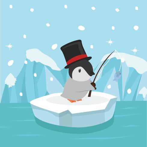 Leuke pinguïn die op ijsijsschol vissen