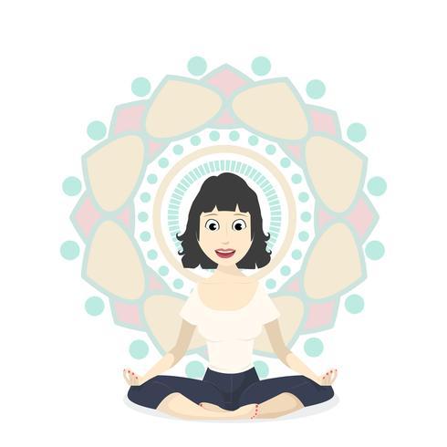 Mädchen in Yoga Lotus Pose