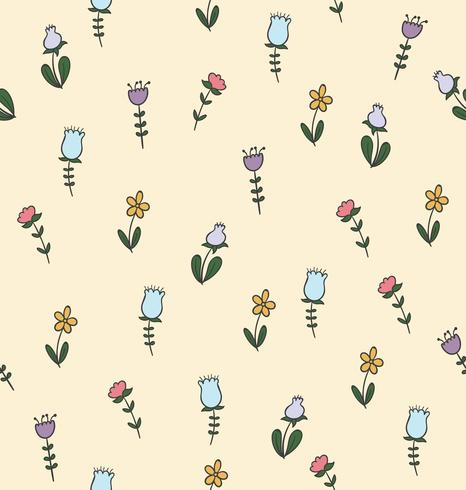 doodle flower seamless pattern vector