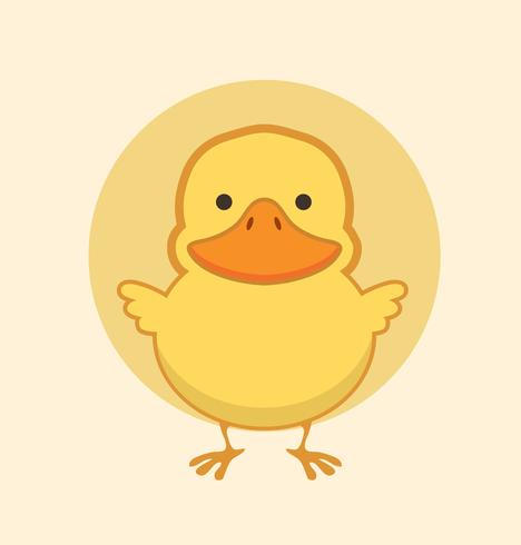 Cute yellow duck vector