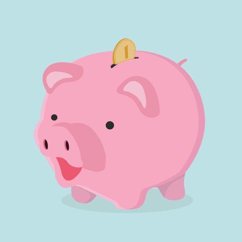 Porcellino salvadanaio con il concetto di risparmio della moneta vettore