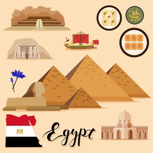 Tourist Egypt Travel coleção definida vetor