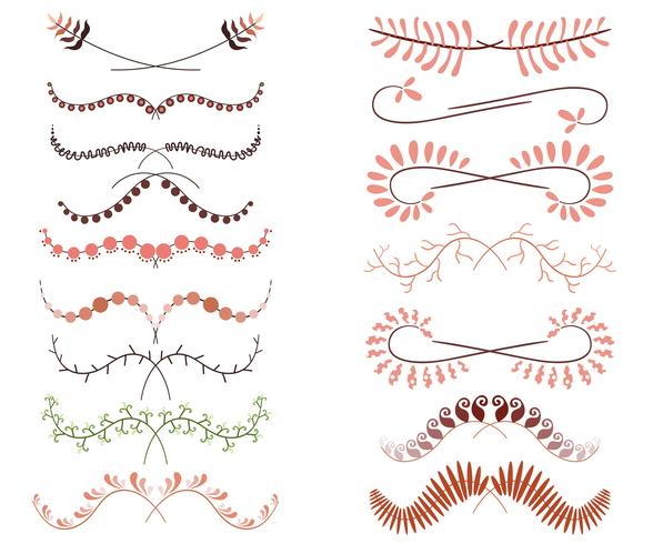 Set Of line art Decorative Elements. Vector