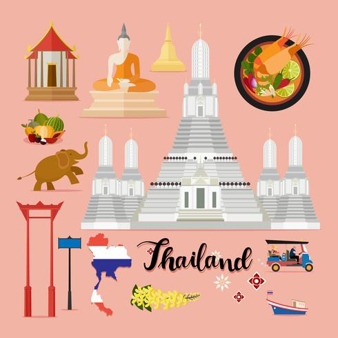 Raccolta stabilita di viaggio turistico della Tailandia