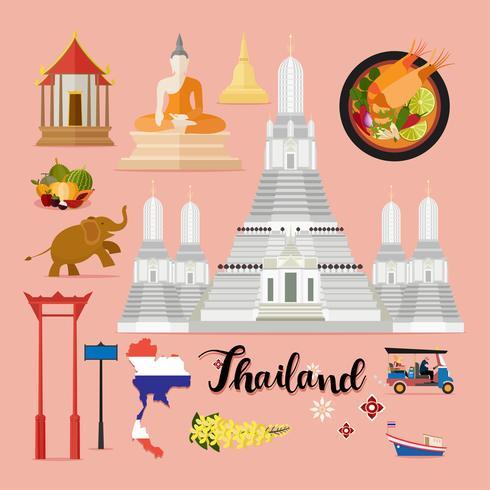 Tourist Thailand Travel set collection vector