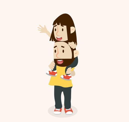 Feliz padre lleva con hija sobre los hombros vector