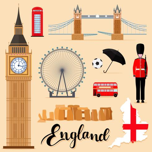Tourist England Travel set collection vector