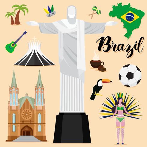 Collezione di set turistico Brasile Travel
