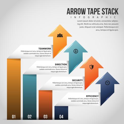 Stack di nastro freccia infografica