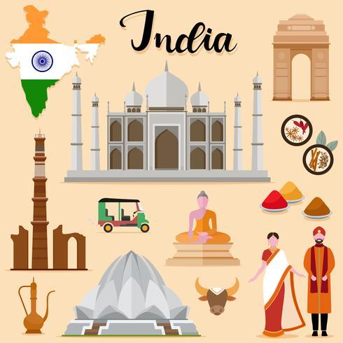 Tourist India Travel coleção definida vetor