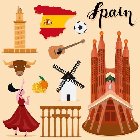 Tourist Spain Travel uppsättning samling