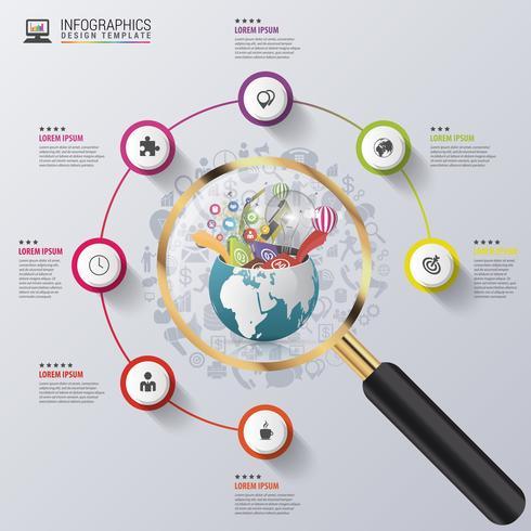 Modèle de conception infographique. Monde créatif à la loupe. Vecteur