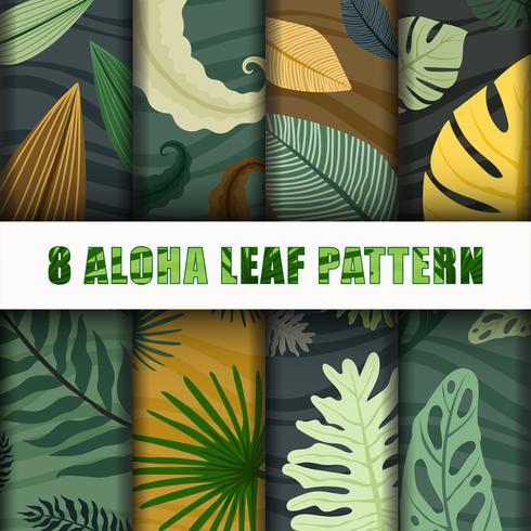 8 Aloha leaf Pattern Background Set colección