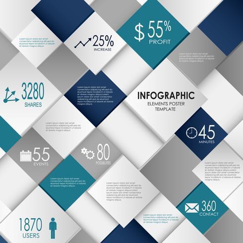 Graphique d'informations avec modèle de cubes abstraits bleus