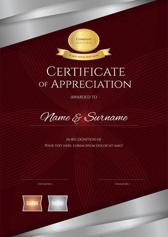 Modèle de certificat de portrait de luxe avec un élégant cadre de bordure rouge et argent, conception de diplôme pour l'obtention du diplôme ou l'achèvement
