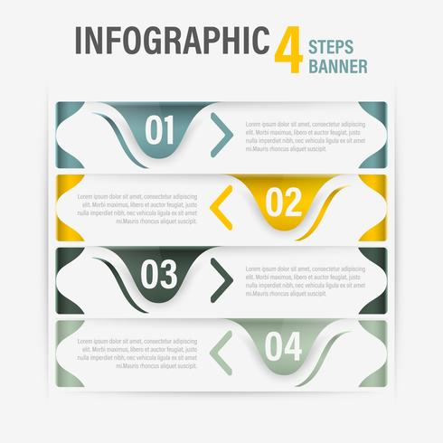 Info-graphic four steps vector horizontal banner. Part 59.