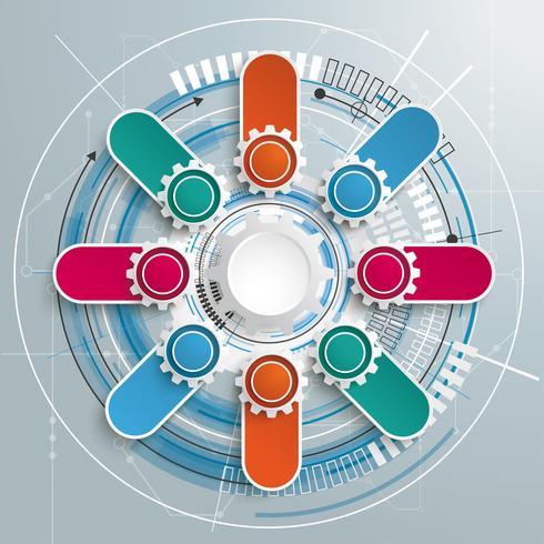 Carte de circuit de construction de technologie à engrenages futuriste 8 bannières