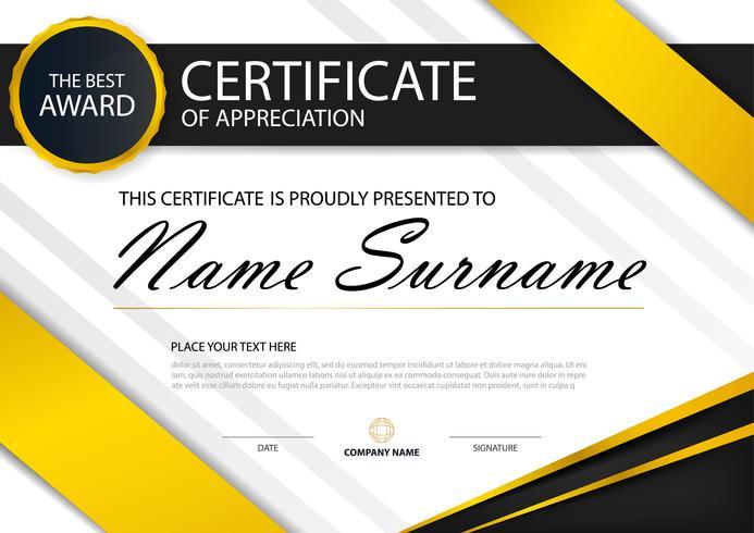 Certificat horizontal d'élégance jaune avec illustration de vecteur, modèle de certificat de cadre blanc avec présentation du modèle propre et moderne