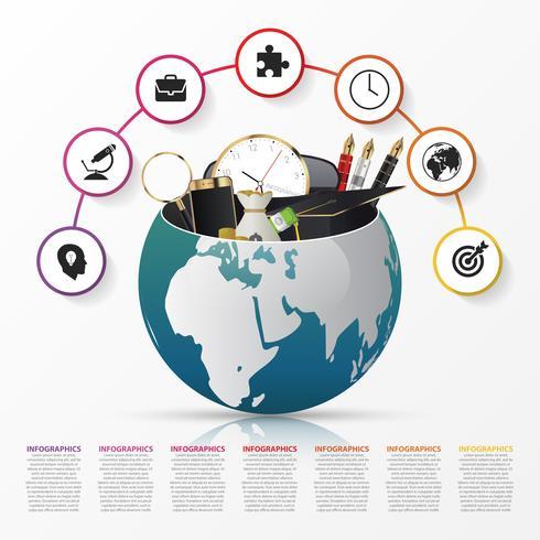 Modèle de conception infographique. Monde créatif. Vecteur