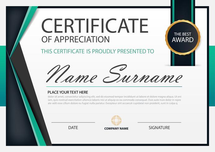 Certificat horizontal d'élégance verte avec illustration vectorielle, modèle de certificat de cadre blanc avec présentation du modèle propre et moderne