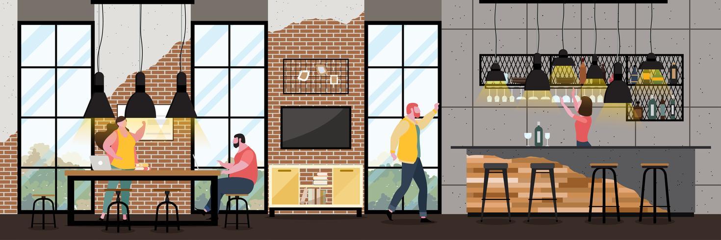 Modern Cafe Interior in stile loft con pieno di clienti